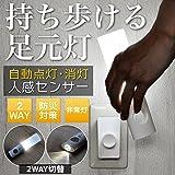 wasser 25 LED 2way フットライト 人感センサー 非常灯 懐中電灯 充電式 wasser25