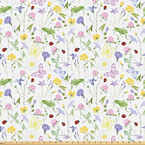 Ambesonne Ladybug Fabric by The Yard, Butterfly Soft Toned Blossom Flora Daisy Aster Bluebell Chamomile Clover Petals, Microfiber Fabric for Arts and Crafts Textiles & Decor, 2 Yards, Multicolor ()