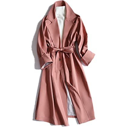 アイキー(AIKEE)レディース 秋冬 コート オシャレ トレンチコート 薄手 リボン付き ロングコート