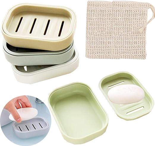 Liuer 4Pcs Jabonera Baño,Sello Caja de jabón de Ducha Jabonera de ...