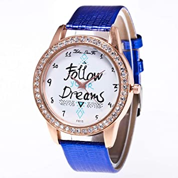 Zhou Lianfa Zalora Ebay.Reloj para Mujer F-615 Correa De Cocodrilo,Azul