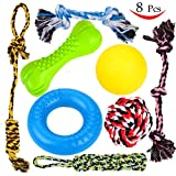8 Durable Dog Chew Toys - Puppy Toys - Value Pack - for Small & Medium Dogs -3 Puppy Teething Toys 100% Natural Rubber(Dog Ring, Dog Bone, Dog Ball)-5 Dog Ropes Toys