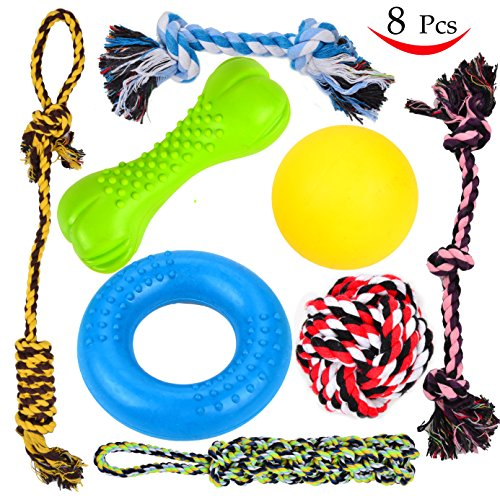 8 Pcs Puppy Chew Dog Toys Value Pack – for Small & Medium Dogs Teething – 3 Dog Toys 100% Natural Rubber (Dog Chew Ring, Dog Chew Bone, Dog Ball) – 5 Dog Chew Ropes – Super Durable – Indestructible
