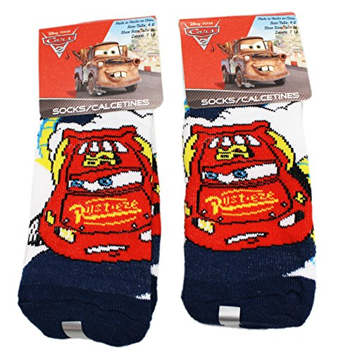 Disney Pixar's Cars Sheriff White/Black Kids Sock Set (Size 4-6, 2 Pairs)