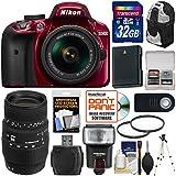 Nikon D3400 Digital SLR Camera & 18-55mm VR DX AF-P Zoom (Red) with 70-300mm Lens + 32GB Card + Case + Flash + Battery + Tripod + Filters + Kit