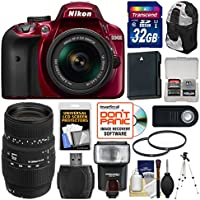 Nikon D3400 Digital SLR Camera & 18-55mm VR DX AF-P Zoom (Red) with 70-300mm Lens + 32GB Card + Case + Flash + Battery + Tripod + Filters + Kit