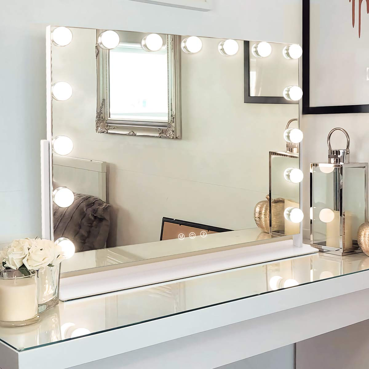 Misavanity Large Vanity Makeup Mirror with Lights,Hollywood Lighted Up Mirror with 10X Magnification and USB Charging Port 15 Dimmable LED Lights for Dressing Room Bedroom Tabletop 360 Degree Rotating