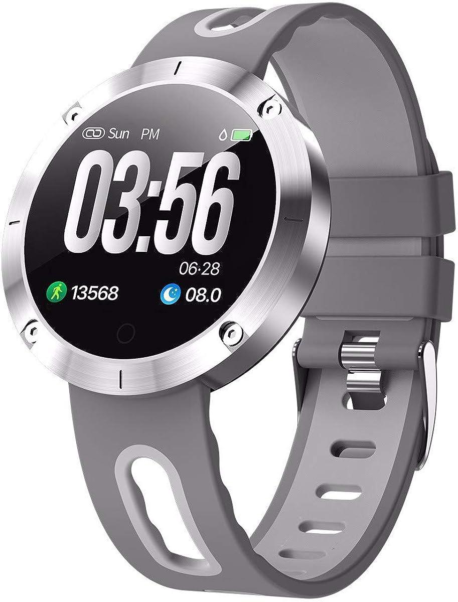 Reloj inteligente Hombres Mujeres Pulsera de pantalla redonda Bluetooth Pulsera deportiva a prueba de agua Frecuencia cardíaca Recordatorio de presión arterial Reloj de pulsera para Android IOS