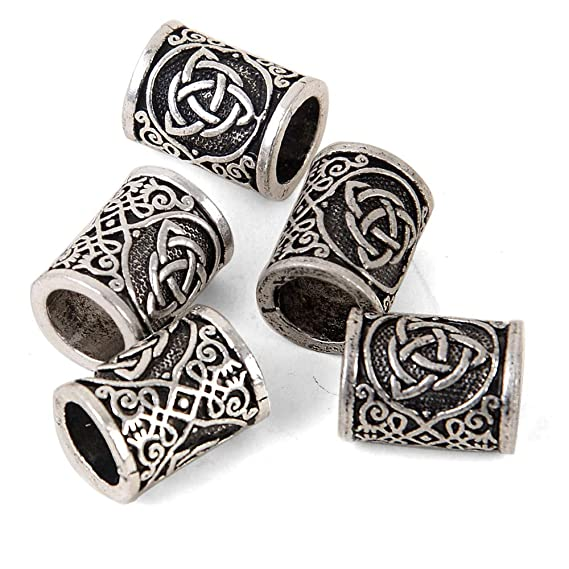 dread hair jewelry 2x Silver Plated Celtic beard beads wire coil 4mm 6mm 8mm