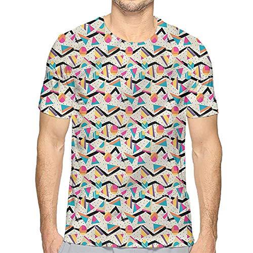 Mens t Shirt Vintage,80s Memphis Geometrical HD Print t Shirt S]()