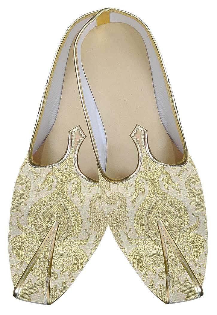 INMONARCH Crema de Oro Hombres Zapatos de Boda MJ0105 45 EU