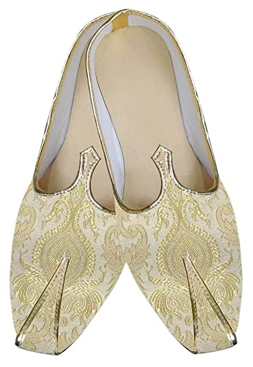 Mens Golden Cream Wedding Shoes MJ0105