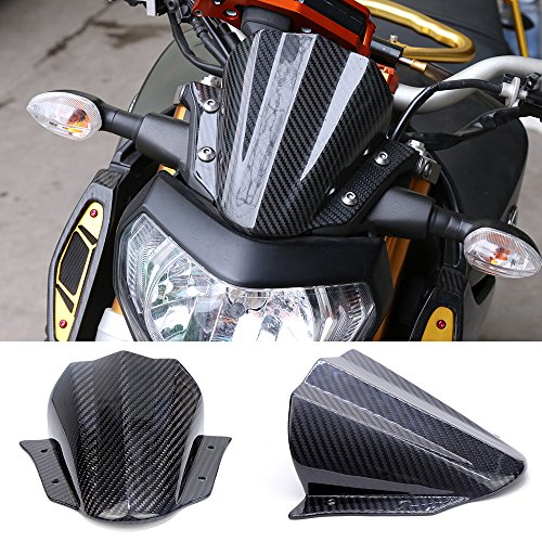 SMOKU MOTOR YMT9014A Carbon Fiber Windscreen for Yamaha MT-09 FZ-09 - Windscreen Carbon Fiber
