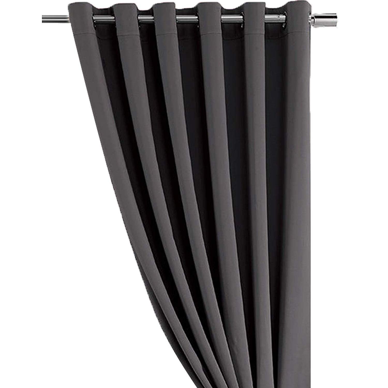 Dark Grey Thermal Insulated Eyelet Ring Top Blackout Curtains Energy Saving Noise Reducing (66x72) ml MassAri Limited