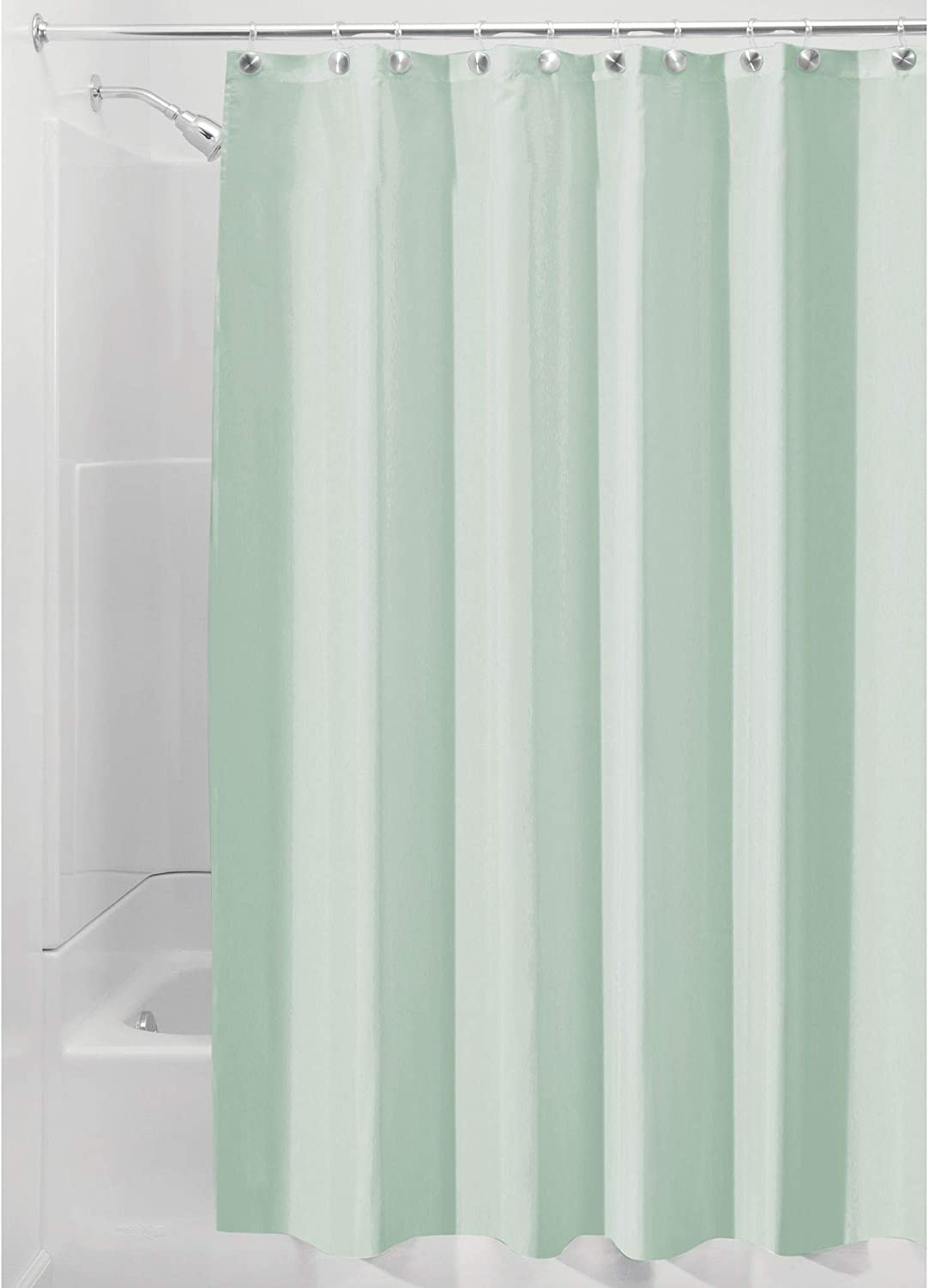 Idesign 14654 Fabric Shower Curtain Mold And Mildew Resistant Water Repellent Bath Liner For Master Bathroom Kid S Bathroom Guest Bathroom 72 X 72 Seafoam Green Home Kitchen