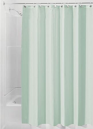 Tende per doccia in poliestere con orlo rinforzato InterDesign Tenda doccia in tessuto Tenda bagno lavabile con dimensioni di 183,0 cm x 183,0 cm verde mare