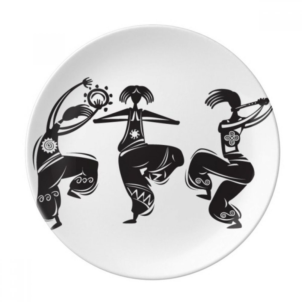 Dance People Mexico Totems Mexican Flute Dessert Plate Decorative Porcelain 8 inch Dinner Home
