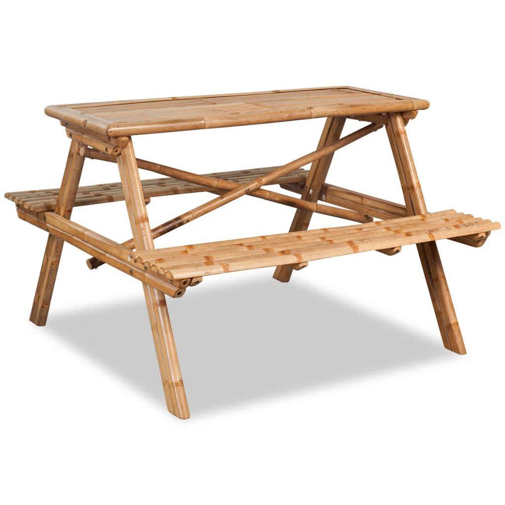 Festnight Picnic Table Garden Bench Table for Outdoor Patio - Brown Bamboo, 120x120x78 cm