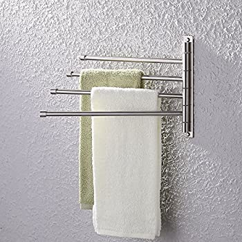 Kes Swivel Towel Bar Sus 304 Stainless Steel 4 Arm Bathroom Swing Hanger Towel Rack Holder