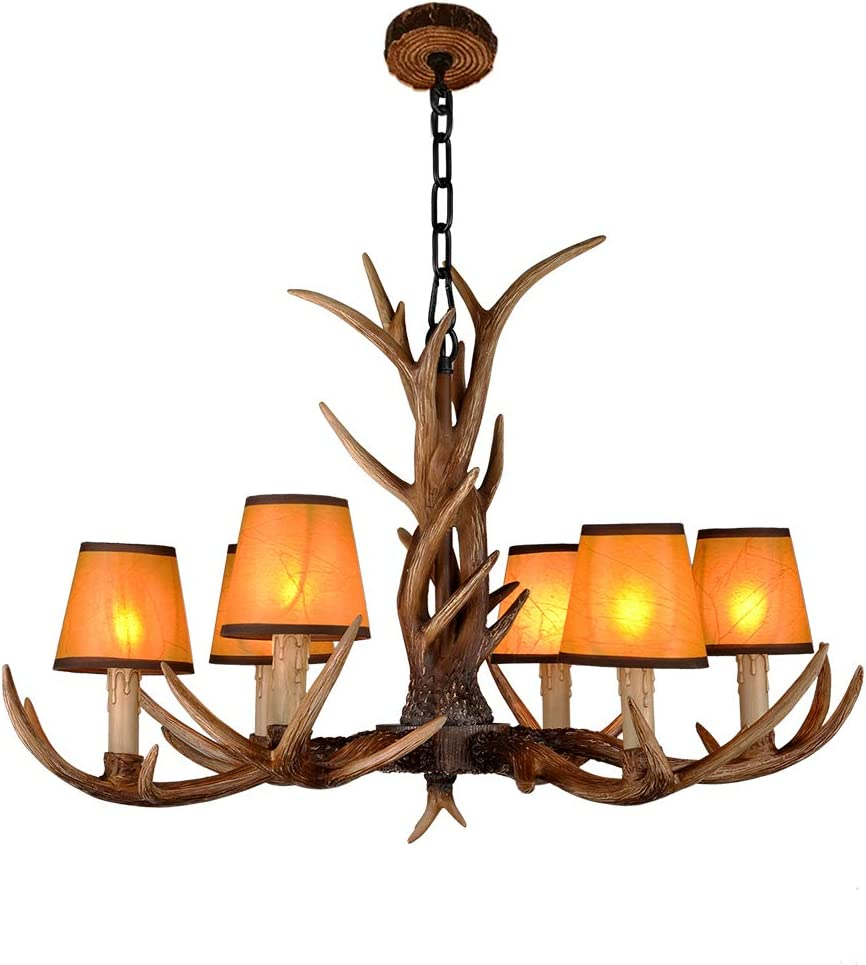 Resin Antler Chandelier, Deer Horn 6 Light Vintage Style Ceiling Light American Rural Countryside Antler Chandeliers for Living room,Bar,Cafe, Dining