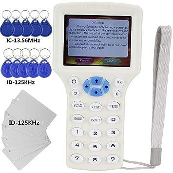 Amazon.com: Lector de tarjetas RFID NFC de 10 frecuencias ...