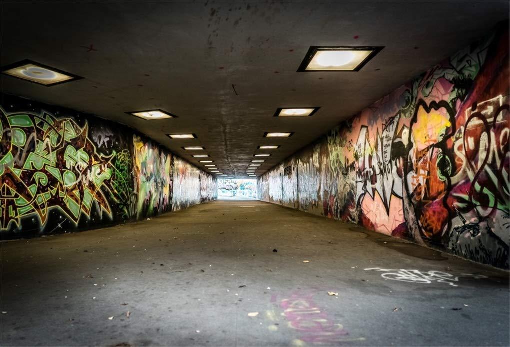 Yeele 9 x 6フィート アーバン ストリート グラフィティ 背景 都市 トンネル 通路 グランジ抽象アート 壁画 背景 写真撮影用 70年代80年代 パーティー 装飾 大人 子供 写真ブース 撮影 ビニール 小道具   B07JY9KDS6