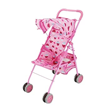Amazon.com: Baby Doll Stroller, Precious Pink with Cute Cupcake ...