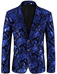Men's Dress Floral Suit Notched Lapel Slim Fit Stylish Blazer