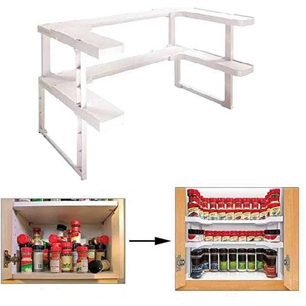 Adjustable Double Layers Spicy Shelf Kitchen Spice Organizer Storage Rack VY
