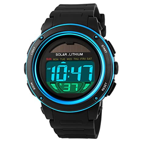 Amazon.com: Multi Function Solar Power Watch Girls Boys LED Sport Watches Digital Waterproof chronograph Wrist Watch (Blue): Watches