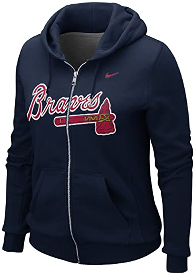 big sale 33f35 ac264 NIKE Women's Atlanta Braves Slim Fit Classic Full Zip Hoodie Sweater