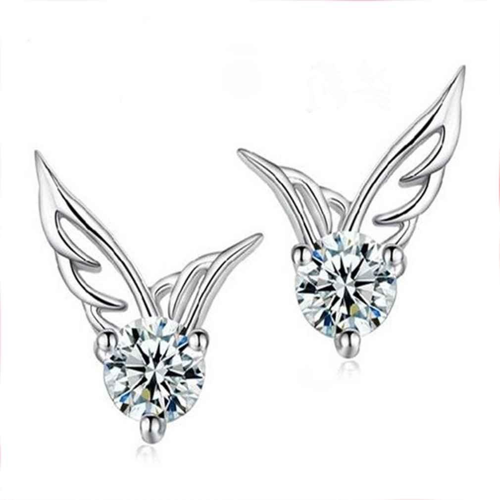 Laileya Las Mujeres de Angel Wings Mini Forma de Pendiente Platino cristalino zarcillos Plateado