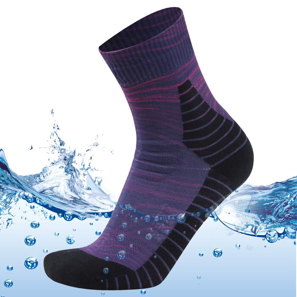 MEIKAN Men's Waterproof Ankle Hiking Socks Big and Tall Sports Trail Running Athletics Socks 1 Pair (Purple, X-Large) by MEIKAN