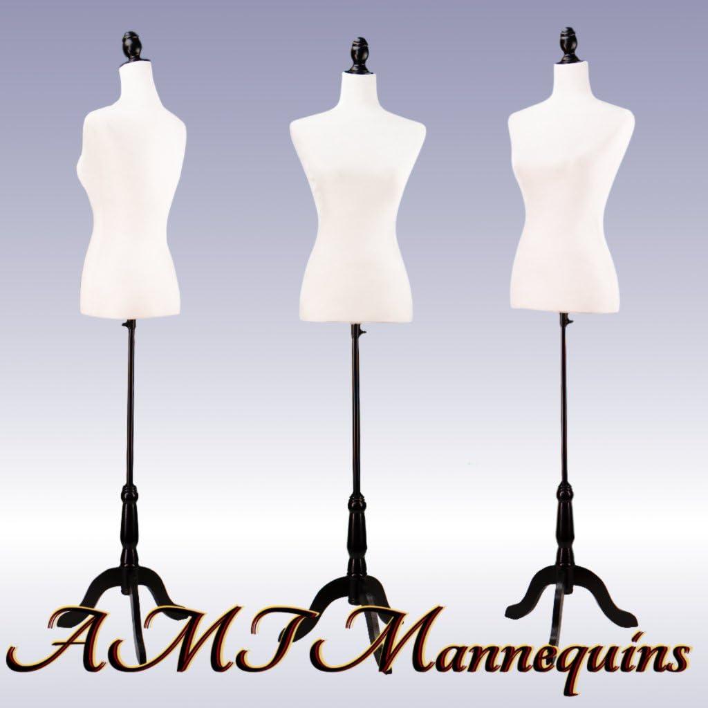 White Female Velour-Like fabric Mannequin Dress Form On Black Tripod Stand