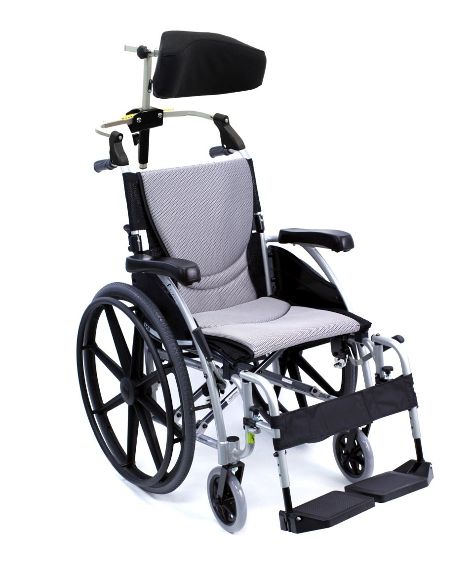 Karman Healthcare 27 Pounds S-115 Mag Wheel Silver with Headrest, Pearl Silver, 27 Pound