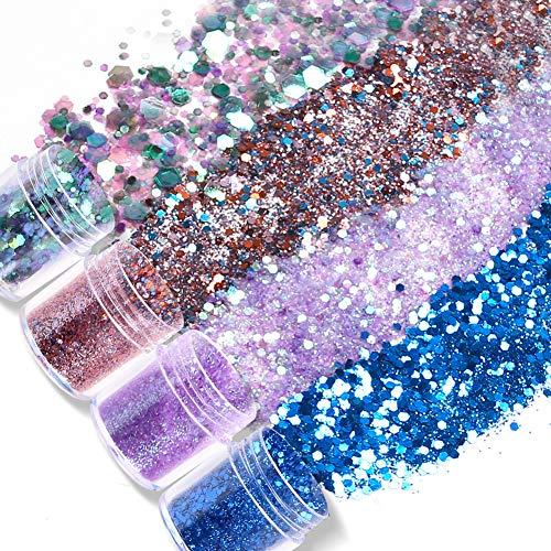 Koogel 16 Farben Glitzer Set, Glitzerpulver Sequin Chunky Glitter Körper Glitzer für Nagelkunst Gesicht Augen Lippen Haare