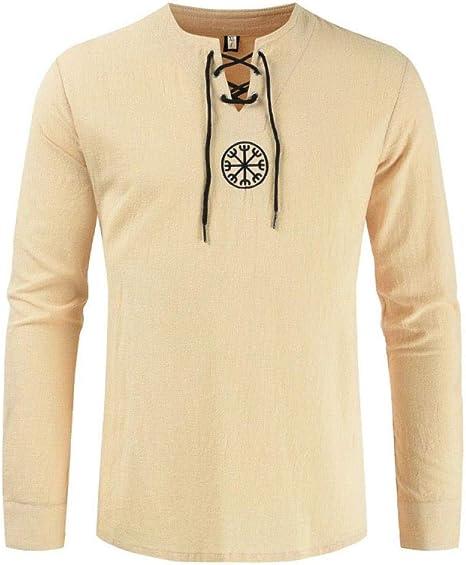 Gike Camiseta de Lino de Pirata Vikingo Medieval, Disfraz ...