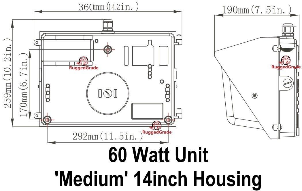 60 Watt LED Wall Pack Light - 7, 232 Lumens- High Efficiency 120 ...