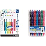 PILOT FriXion Fineliner Erasable Marker Pens, Fine Point, Assorted Color Inks, 12-Pack & FriXion Clicker Erasable…