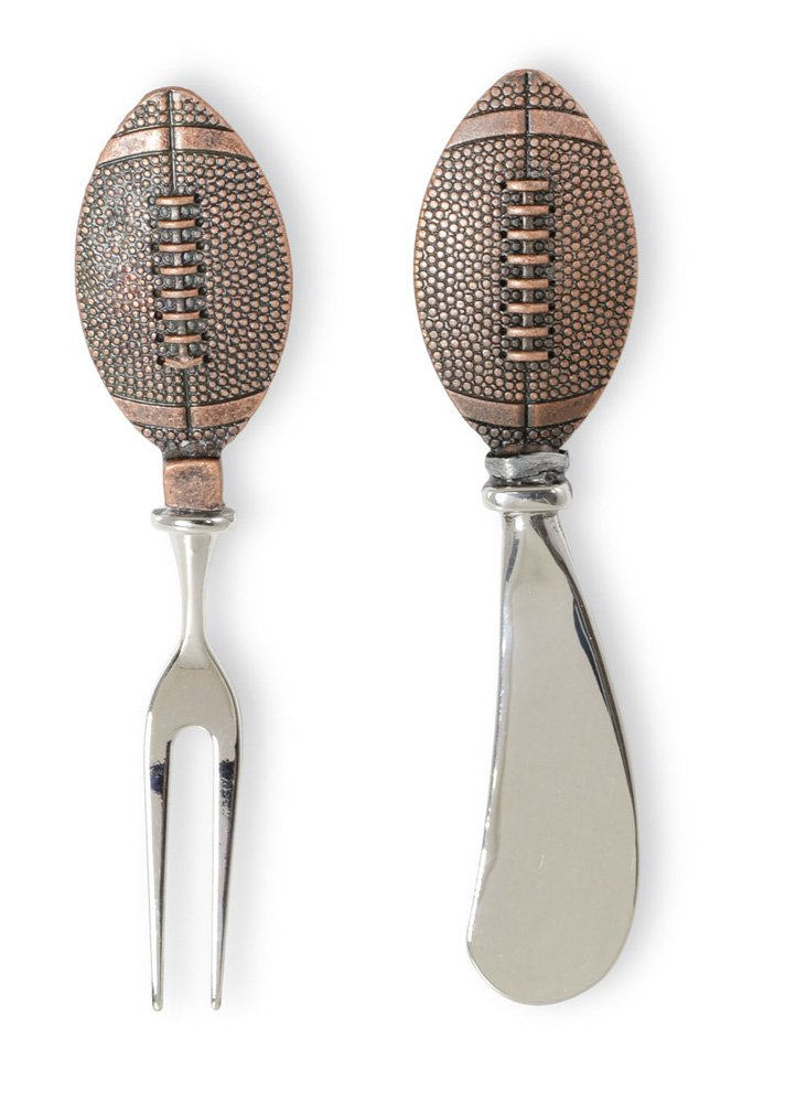 Celebrate the Home NOO17034 Copper Cheese Fork and Spreader Set, Football
