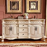 Silkroad Exclusive Countertop Marble Stone Double Sink Bathroom Vanity with Cabinet, 72-Inch