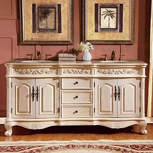 Silkroad Exclusive Countertop Marble Stone Double Sink Bathroom Vanity with Cabinet, 72