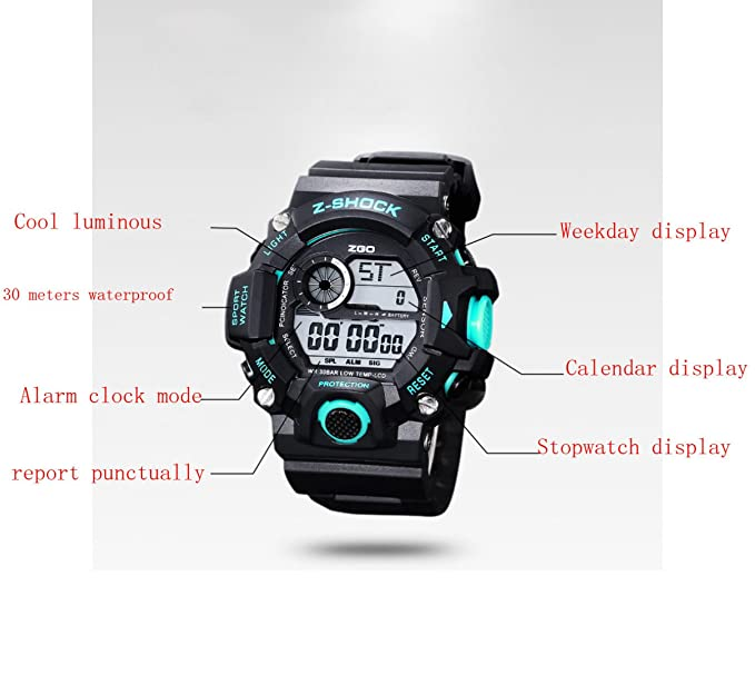 Kid Watch 50M Impermeable Deportivo LED Cronómetro Alarma Reloj Digital Niño Cuarzo Reloj De Pulsera Para Niño Niña,Gold: Amazon.es: Deportes y aire libre