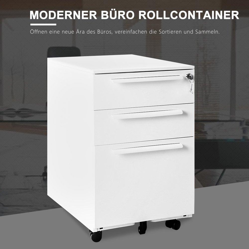 Terrific Rollcontainer Metall Collection Of Abschließbar Inkl. 3 Schübe, Grundsolide Verarbeitung, Schreibtisch