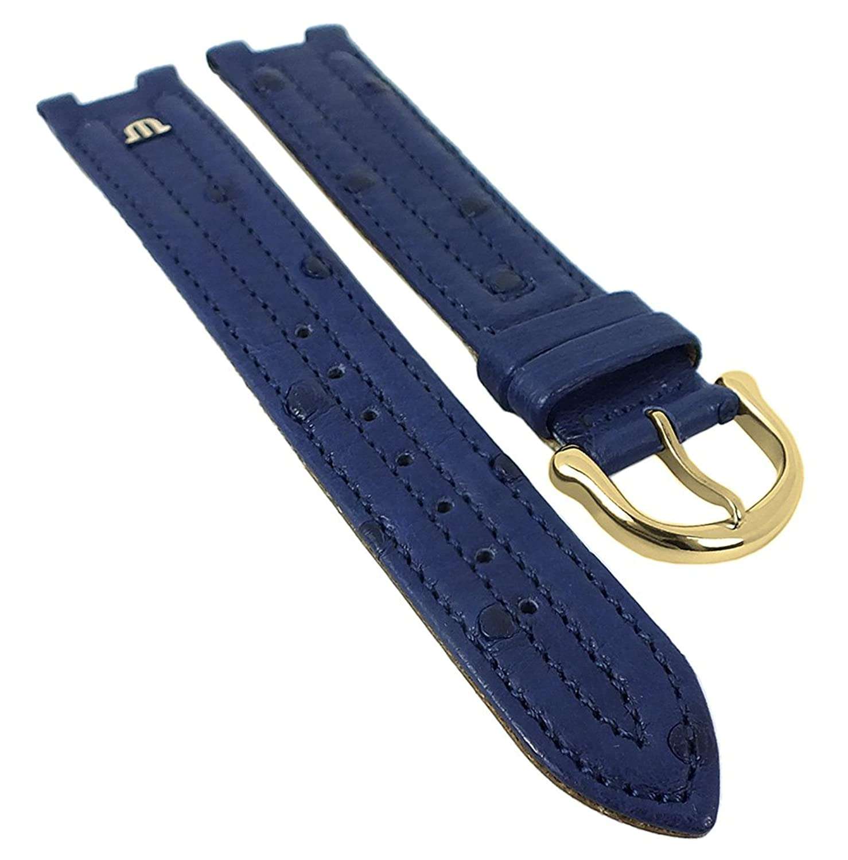 Maurice Lacroix fÜr Calypso-Scala | Ersatzband Uhrenarmband Straußenleder blau matt 30034 - Stegbreite:18mm - Schlie