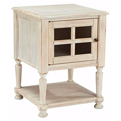 Amazoncom White End Table Small Nightstand Distressed Vintage Wood