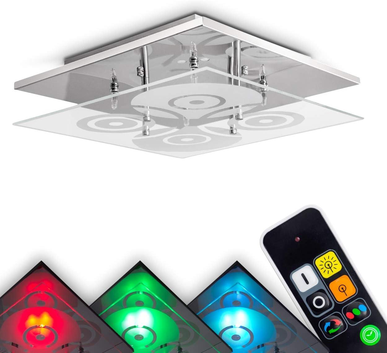 LED Decken Lampe Chrom Glas Dekor lila RGB Farbwechsler bunt Wohn Schlaf Zimmer