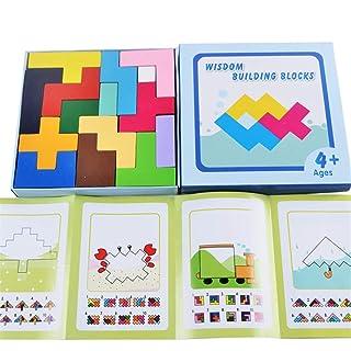 Uiophjkl Costruzioni Giocattoli di Corrispondenza Geometrici dei Bambini di intelligenza cerebrale del Bordo del Puzzle di Tetris Variopinto di Legno del Puzzle di Corrispondenza