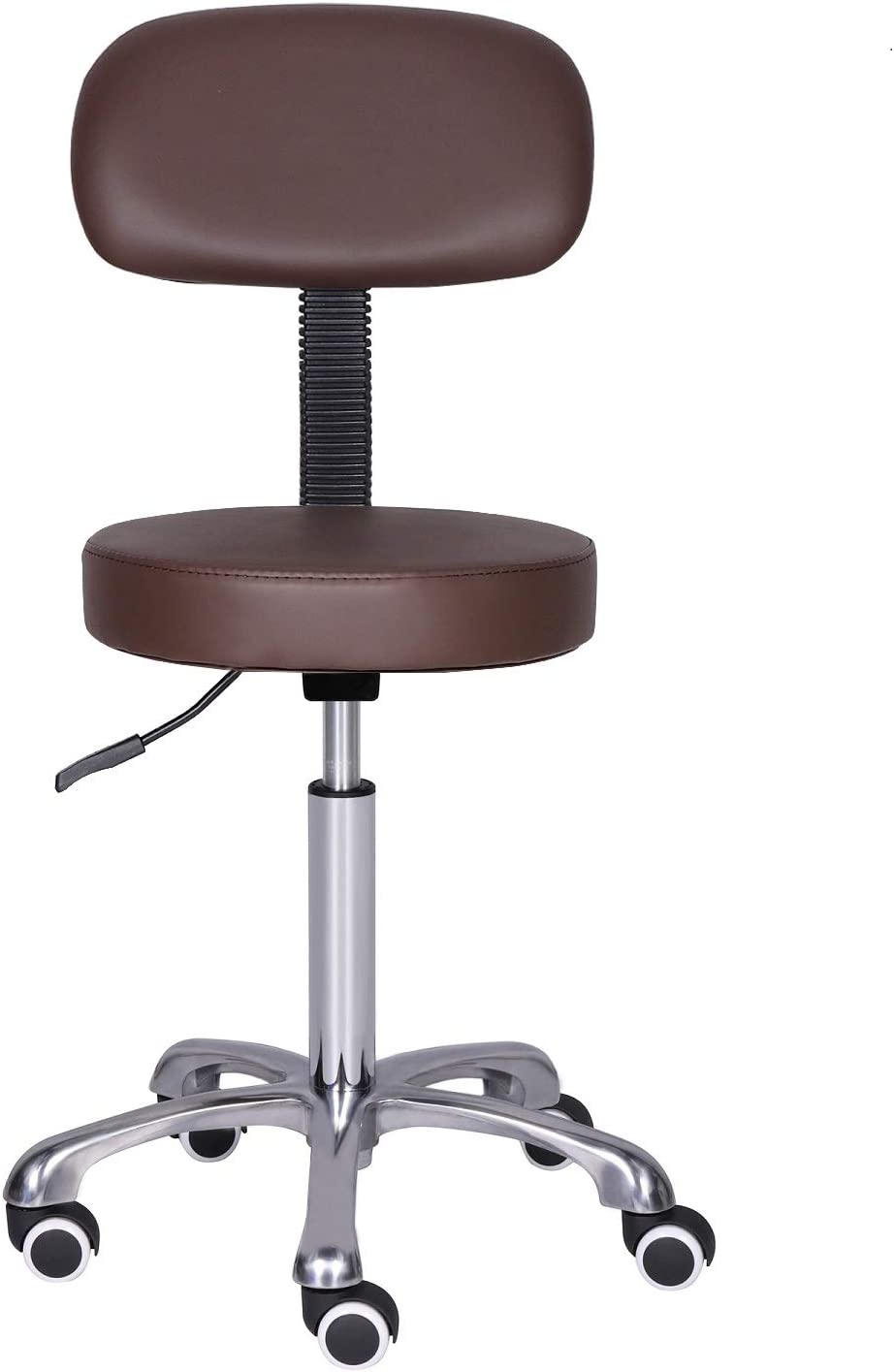 Kaleurrier Rolling Swivel Adjustable Heavy Duty Drafting Stool Chair for Salon,Medical,Office and Home uses,with Wheels and Back (Coffee)