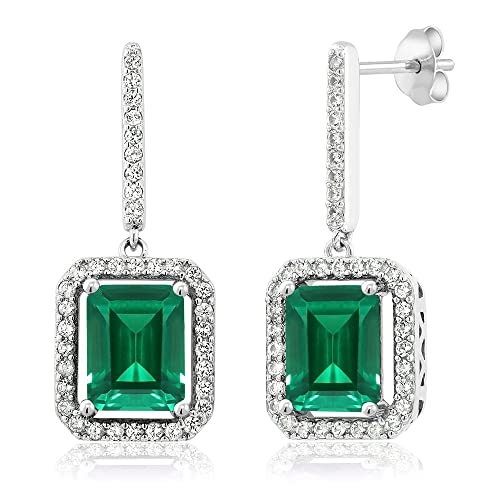 Gem Stone King 925 Sterling Silver Green Simulated Emerald Earrings 4.96 Ctw Emerald Cut